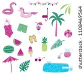 pool party isolated summer...   Shutterstock .eps vector #1108469564