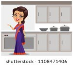 indian woman in kitchen serving ... | Shutterstock .eps vector #1108471406