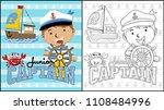 little captain on sailboat... | Shutterstock .eps vector #1108484996