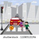 hildren ran on road  when was... | Shutterstock .eps vector #1108513196