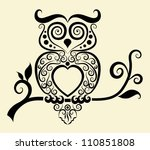 decorative owl. bird with... | Shutterstock .eps vector #110851808