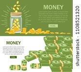 flat money bills. golden coins... | Shutterstock .eps vector #1108521320