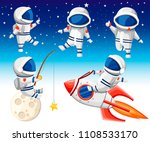 cute astronaut collection.... | Shutterstock .eps vector #1108533170