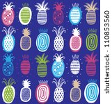 vector hand drawn pineapples on ... | Shutterstock .eps vector #110853560