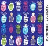 vector hand drawn pineapples on ... | Shutterstock .eps vector #110853560
