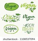 vegan. handwritten lettering... | Shutterstock .eps vector #1108537094