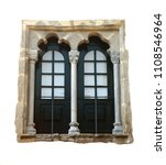 Small photo of Beautiful Arabesque - Manueline marble window and surround. Beja, Alentejo region, Portugal. Isolated on white.