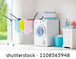 laundry room with washing... | Shutterstock . vector #1108565948