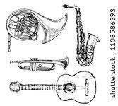 music instrument saxophone...   Shutterstock .eps vector #1108586393
