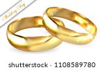 two realistic golden rings ... | Shutterstock .eps vector #1108589780