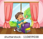 illustration of a boy with a... | Shutterstock .eps vector #110859038