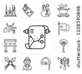 set of 13 simple editable icons ... | Shutterstock .eps vector #1108590848