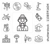 set of 13 simple editable icons ... | Shutterstock .eps vector #1108591604