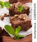 brownie sweet chocolate dessert ... | Shutterstock . vector #1108594193