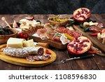 italian antipasti wine snacks... | Shutterstock . vector #1108596830