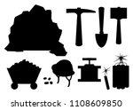 Black Silhouette. Mining Icon...