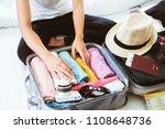 overhead view of traveler's... | Shutterstock . vector #1108648736