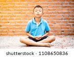 Asian Cute Kid Sitting Meditation - Fine Art prints