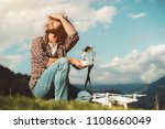 a bearded caucasian man with a... | Shutterstock . vector #1108660049