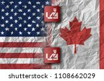 us and canada  trade war and... | Shutterstock . vector #1108662029