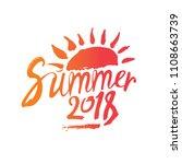 summer 2018. hand drawn... | Shutterstock .eps vector #1108663739