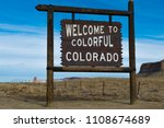 welcome to colorado sign wiht... | Shutterstock . vector #1108674689
