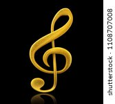 golden musical note   3d render | Shutterstock . vector #1108707008