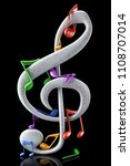 colorful musical notes   3d... | Shutterstock . vector #1108707014