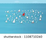 boat with red sail in the... | Shutterstock .eps vector #1108710260