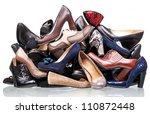 Pile Of Various Female Shoes...