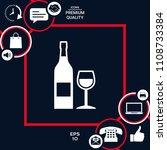 bottle of wine and wineglass... | Shutterstock .eps vector #1108733384