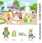 coloring zoo children book with ... | Shutterstock .eps vector #1108736009