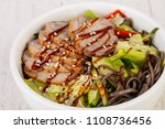 salad with duck breast and... | Shutterstock . vector #1108736456