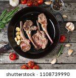 roasted lamb ribs with rosemary ... | Shutterstock . vector #1108739990