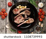 roasted lamb ribs with rosemary ... | Shutterstock . vector #1108739993