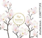 pink flower invitation template | Shutterstock .eps vector #1108777193