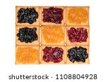 some dry biscuits with jam on a ... | Shutterstock . vector #1108804928