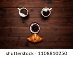 face of two cups of croissant... | Shutterstock . vector #1108810250