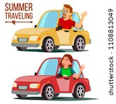 summer traveling by car vector. ... | Shutterstock .eps vector #1108813049