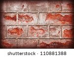 brick wall background texture with vignette - stock photo