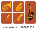 wind musical instruments cards...   Shutterstock .eps vector #1108815293
