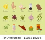 spices condiments and seasoning ... | Shutterstock .eps vector #1108815296