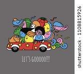 cute monsters have adventure...   Shutterstock .eps vector #1108815926