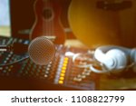 microphones and audio mixers at ... | Shutterstock . vector #1108822799