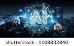 white humanoid hand on blurred... | Shutterstock . vector #1108832840