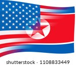 north korean and united states...   Shutterstock . vector #1108833449