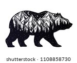 bear and night forest mountain... | Shutterstock .eps vector #1108858730