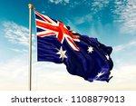 australia flag on the blue sky. ... | Shutterstock . vector #1108879013