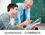 male student with a teacher in... | Shutterstock . vector #110888624