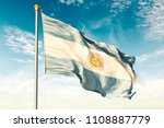 argentina flag on the blue sky. ... | Shutterstock . vector #1108887779